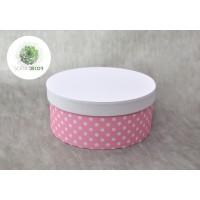 Papírdoboz rózsaszín pöttyös D16cm