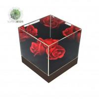 Virágdoboz akril fekete 14*14*14cm