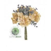 Hortenzia-eukalyptus kötegelt csokor x10