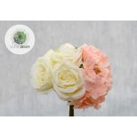 Rózsa-hortenzia kötegelt csokor x9
