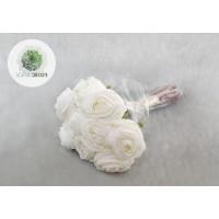 Rózsa kötegelt csokor x9 fehér