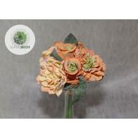 Rózsa-dália kötegelt csokor x5 zöld-terrakotta