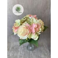 Hortenzia-rózsa kötegelt csokor x9 (TÖBB SZÍNBEN!)