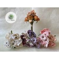 Peónia , liliom, hortenzia kötegelt csokor x8