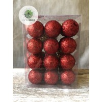 Gömb glitteres 3cm piros