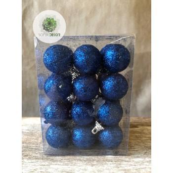 Gömb glitteres 3cm kék