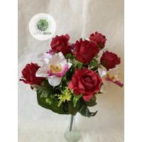 Rózsa-orchidea csokor x12  rózsaszín, piros