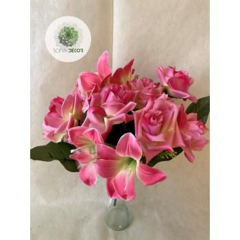 Liliom-rózsa csokor x14 (TÖBB SZÍNBEN!)