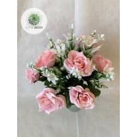 Rózsa csokor díszítővel x18 40cm (TÖBB SZÍNBEN!)