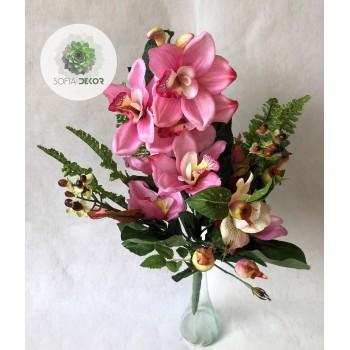 Orchidea féloldalas csokor x10 (TÖBB SZÍNBEN!)