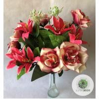 Rózsa-liliom csokor x18 (TÖBB SZÍNBEN!)