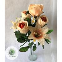 Rózsa-liliom csokor x7 45cm (TÖBB SZÍNBEN!)