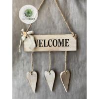 WELCOME ajtódísz szívvel