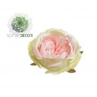 Rózsa fej 9-10cm zöld-rózsaszín (db ár!) CSAK CSOMAGRA RENDELHETŐ!