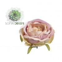 Rózsa fej 9-10cm barack-rózsaszín-zöld (db ár!) CSAK CSOMAGRA RENDELHETŐ!