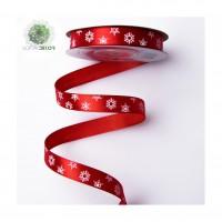 Hópelyhes karácsonyi szatén szalag 12mm*20m piros