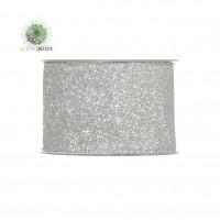 Szalag glitteres 63mm*10m ezüst