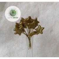 Glitteres csillag pick x12 arany (CSOMAG ÁR!)