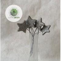 Glitteres csillag pick x6 ezüst(CSOMAG ÁR!)