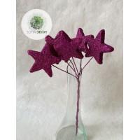 Glitteres csillag pick x6 lila