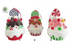 Karácsonyi muffin agyag 6*7cm