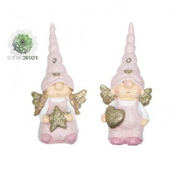 Angyal manó sapkában 6*4,5*12cm rózsaszín, arany