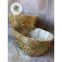 Rattan kosár szett flitteres arany