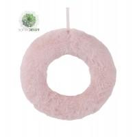 Szőrös koszorú 20cm rózsaszín