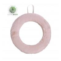 Szőrös koszorú 25cm rózsaszín
