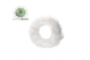 Koszorú alap hosszú műszőr D20cm fehér