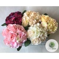 Rózsa-hortenzia kötegelt csokor x10 30cm