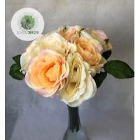 Rózsa kötegelt csokor x12 krém-barack