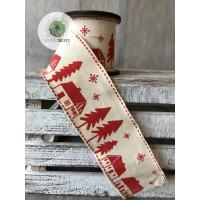 Karácsonyi szalag fenyős, házikós 6*300cm