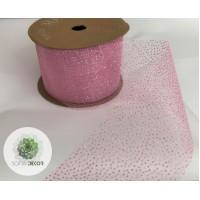 Szalag organza rózsaszín csillámokkal